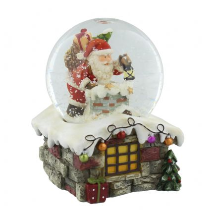 LED Colour Changing  Snow Globe ~ Santa & Chimney Christmas Ornament